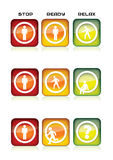 Aqua icons with walkers theme. Traffic lights Stock Photo