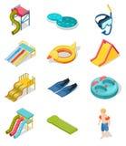 Aqua ikony Parkowy Isometric set ilustracja wektor
