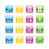 Aqua image viewer icons. Vector file has layers, all icons in four versions are included Stock Photography