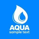 Aqua kropli znak odizolowywający na błękitnej tło wektoru ilustraci Obraz Royalty Free