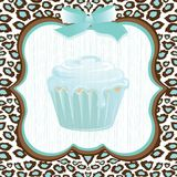 Aqua leopard print cupcake birthday. Aqua and brown leopard print background with a framed faded cupcake and bow detail. Super cute birthday party invitation for royalty free illustration