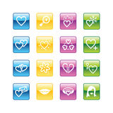 Aqua love icons. Vector file has layers, all icons in four versions are included Royalty Free Stock Photo