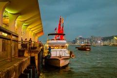 Aqua Luna Boat in Hong Kong stock image