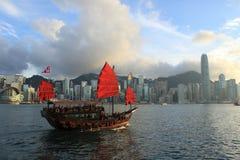 Aqua Luna, Victoria Harbour, Hong Kong. Aqua Luna boat - famous landmark of Hong Kong city Stock Images
