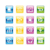Aqua media icons. Vector file has layers, all icons in four versions are included Stock Photos
