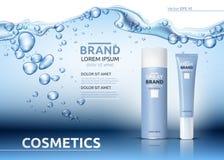 Aqua Moisturizing cosmetic ads template. Hydrating facial or body lotion. Mockup 3D Realistic illustration. Sparkling water drops. Aqua Moisturizing cosmetics Stock Photography