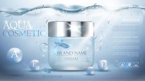 Aqua nawilżania kremowy kosmetyk Reklamowy realistyczny podwodny błękitny szablon ilustracji