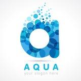 Aqua A opadowego listu wodny logo Zdjęcia Stock