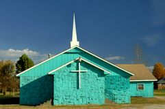 Aqua Painted Church Stock Photo
