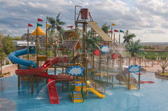 Aqua park. Small aqua park for kids placed inside the shallow swimming pool royalty free stock images