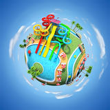 Aqua park. 3D illustration of aqua park on the globe stock illustration