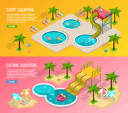Aqua Park Banner Set isométrica Fotos de archivo libres de regalías