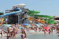 Aqua park on the beach. In the seaside town of Port Iron Ukraine. season August Royalty Free Stock Photo