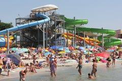 Aqua park on the beach. In the seaside town of Port Iron Ukraine. season August Royalty Free Stock Photography
