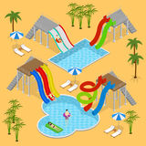 Aqua Park Concept Isometric View Vecteur Photos stock