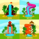Aqua Park Flat Design Concept illustration stock