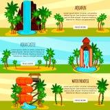Aqua Park Flat Horizontal Banners Illustration de Vecteur