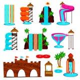 Aqua Park Flat Icons Set illustration de vecteur
