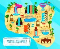 Aqua Park Flat Scheme illustration de vecteur