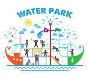 Aqua park flat vector illustration. Stock Photo