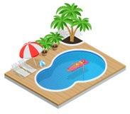 Aqua Park isométrique avec la piscine d'eau Illustration d'isolement sur le concept blanc de vacances d'été de fond Apprécier le  Illustration de Vecteur