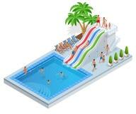 Aqua Park isométrique avec les glissières d'eau, la piscine d'eau, les gens ou les visiteurs et les paumes Illustration de vecteu Illustration Libre de Droits
