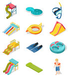 Aqua Park Isometric Icon Set Photos stock