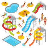 Aqua Park Isometric Icons Set. With people in swimsuits resting swimming sunbathing and waterpark construction isolated vector illustration Stock Photos