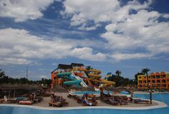 Aquapark in Tunisian hotel Royalty Free Stock Photo