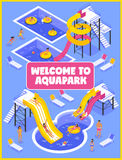 Aqua Park Poster Illustration Stock