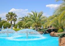 Aqua park's open air water facilities. Antalya, Turkey royalty free stock photo
