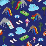 Aqua Park Seamless Pattern Background sur une vue isométrique bleue Vecteur illustration stock