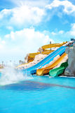 Aqua park sliders Royalty Free Stock Image