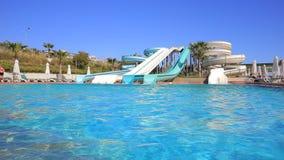 Aqua Park slides and pool stock video footage