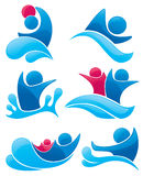 Aqua park and swimming symbols Stock Photography