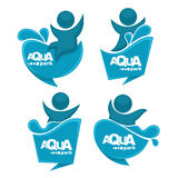 Aqua park. Vector collection of aqua park and swimming actions logo, emblem and symbols royalty free illustration