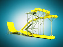 Aqua park water carousel yellow 3d render on blue background. Aqua park water carousel yellow 3d render on blue Stock Image