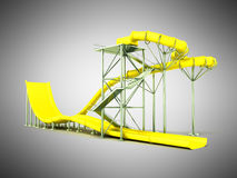 Aqua park water carousel yellow 3d render on gray background. Aqua park water carousel yellow 3d render on gray Royalty Free Stock Photos