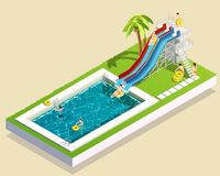 Aqua Park Waterslide Composition Photographie stock