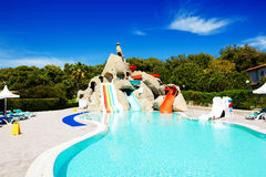 Free Aqua Park With Water Slides In Luxury Hotel Stock Photo - 40261510