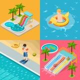 Aqua Parkowego składu ikony Isometric set royalty ilustracja