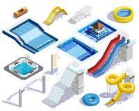 Aqua Parkowi elementy Ustawiający Zdjęcia Stock