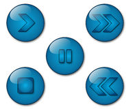 Aqua Player Icons Royalty Free Stock Images