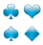 Aqua playing card symbols 01. Clubs,hearts,spades and diamonds in aqua style Royalty Free Stock Images