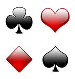 Aqua playing card symbols 02. Aqua clubs,hearts,diamonds and spades in their real colors Royalty Free Stock Photo