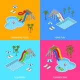 Aqua pojęcia sztandaru Parkowej karty Ustalony Isometric widok wektor royalty ilustracja