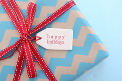 Aqua and red Christmas Gift Royalty Free Stock Photography