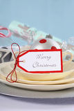 Aqua, red and white Christmas table setting. Stock Photos