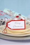 Aqua, red and white Christmas table setting. Stock Photos