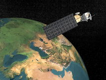 Aqua satellite - 3D render. Aqua satellite upon the earth to study it in the space Royalty Free Stock Images